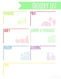 grocery list healthy grocery list template for free