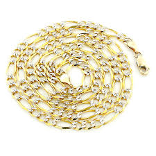 figaro necklace men images Yellow gold diamond cut figaro chain for men 10k 4 5mm 22 24in jpg
