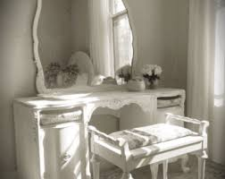 White Vanity Table With Mirror Distressed Vanity Etsy