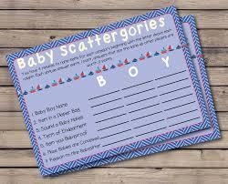 baby shower scattergories game nautical theme sailing theme