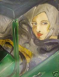 tamara de lempicka in sports car art deco portrait signed