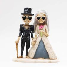 day of the dead wedding cake topper never dies and groom in heart glasses day of