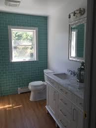bathroom seafoam green subway tile green mosaic glass tile