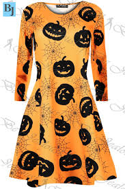 girls pumpkin halloween costume kids childrens girls top pumpkin spider web ghost halloween swing