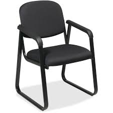 Leather Boss Chair Office Star V4410 80 V4410 Deluxe Sled Base Arm Chair Black Seat