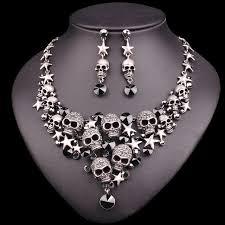 necklace vintage images Vintage skull jewelry sets statement necklace earrings sets jpg