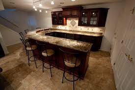 U Shaped Bar Table Basement Bar With Bordeaux Granite Contemporary Basement