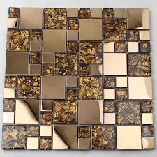 Wholesale Vitreous Mosaic Tile Backsplash Gold  Stainless Steel Wit - Glass and metal tile backsplash