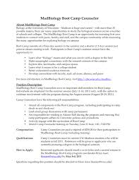 On Campus Job Resume Sample by Sample Camp Counselor Resume Gallery Creawizard Com