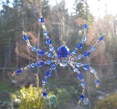 blue blown glass spider beaded spider