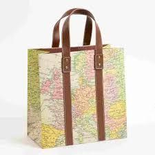 vintage map large gift bag