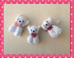knitted bear and cat pins knit crochet felting and crochet