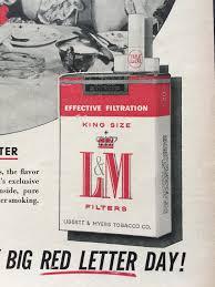 1956 l u0026m cigarette vintage ad tobacco ephemera nostalgic wall