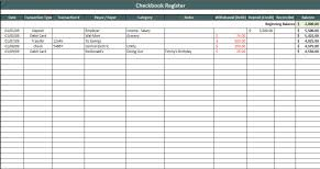 Check Register Template Excel Checkbook Register Spreadsheet