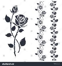 rose tattoo art black silhouette isolated stock vector 551011828
