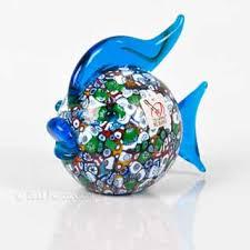 murano glass fish figurine in murrina fusione style marcopoloni