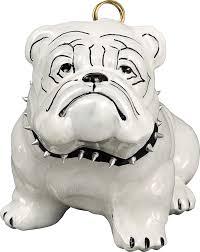 the pet set studded collar white bulldog glass christmas ornament