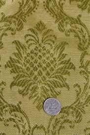 Fabric Drapes 70s Vintage Olive Green Brocade Drapes Vinyl Backed Fabric