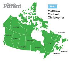 map of canada by province baby name map top names in canada through the years today s parent