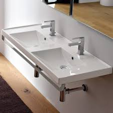 Trough Bathroom Sink With Two Faucets by Double Trough Sink All Bathroom Sinks Wayfair