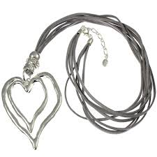 heart leather necklace images Large silver plated free running abstract heart shape pendant and jpg
