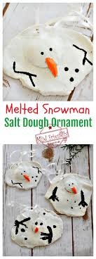 a diy melted snowman and salt dough ornament idea and