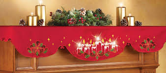 mantel scarf lighted christmas candles mantel scarf decor from collections etc
