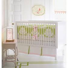 green and pink daisy chain custom crib bedding set