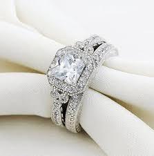 what are bridal set rings 0 8 carat vintage bridal set princess white cz 925 sterling silver