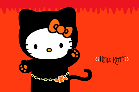 black cat halloween wallpaper hello kitty and sanrio printable picture postcards 6 u2033 x 4