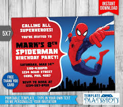 spiderman birthday invitations free choice image invitation