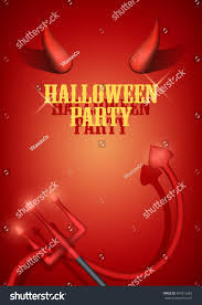 halloween party invitation devil horns tail stock vector 481815283