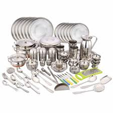 Dining Steel Plate Set Klassic Vimal 146 Pcs Dinner Set Vm104 Steel Dinner Sets