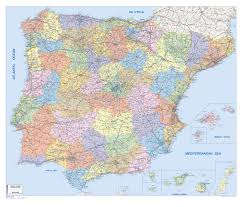 Spain Map Spain Portugal Post Code Wall Map Countries U0026 Regions Maps