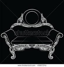 royal luxury sofa furniture baroque ornaments stock vector