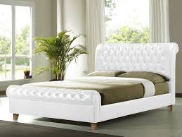 King Size Leather Sleigh Bed Living Richmond Super King Size White Faux Leather Bed Frame