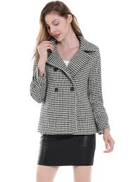 houndstooth blouse allegra k houndstooth turn collar breasted coat
