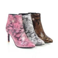 s zip ankle boots uk shoes synthetic snakeskin leather high heels zip ankle