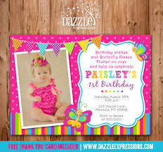 printable butterfly birthday photo invitation first