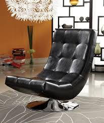 Swivel Chairs For Living Room Contemporary Contemporary Style Black Leather Like Vinyl Hammock Style