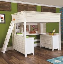 White Wooden Bunk Bed White Wooden Bunk Bed Connected With Desk Also Drawers Combined