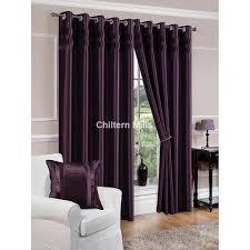 Aubergine Curtains Denver Faux Silk Fully Lined Aubergine Purple Eyelet Curtain