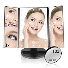 makeup mirror 10x magnification with light amazon com lighted makeup mirror eloki 22 led trifold vanity