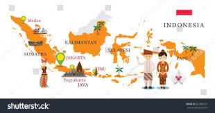 Bali Indonesia Map Indonesia Map Landmarks People Traditional Clothing Stock Vector