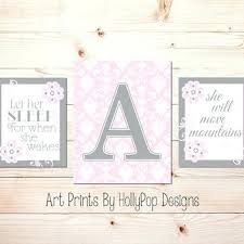 Pink And Gray Nursery Decor Baby Nursery Wall Decor Custom Nursery Decor Wall Canvas