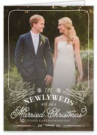 newlywed card married and bright photo card