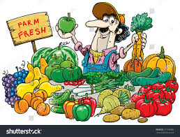 man selling fruit vegetables market stock vector 171558380