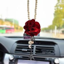 personalized rear view mirror charms car mirror charm flower and eiffel towel rear view mirror pendant