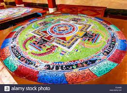 colored sand ladakh india sep 22 tibetan mandala tilt from colored sand on