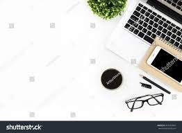 Modern White Office Table Modern White Office Desk Table Laptop Stock Photo 457687084